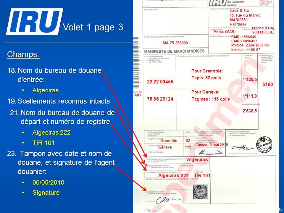 Volet 1 page 3 Champs: Nom du bureau de douane d'entrée: