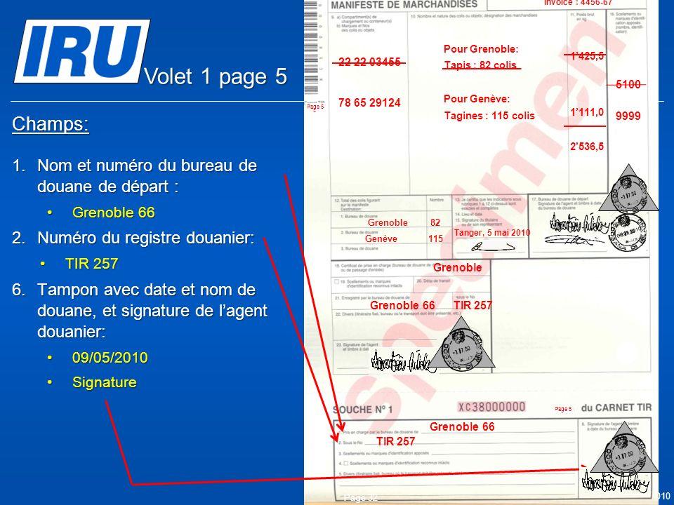 Volet 1 page 5 Champs: Nom et numéro du bureau de douane de départ :