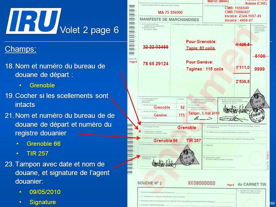 Volet 2 page 6 Champs: Nom et numéro du bureau de douane de départ :