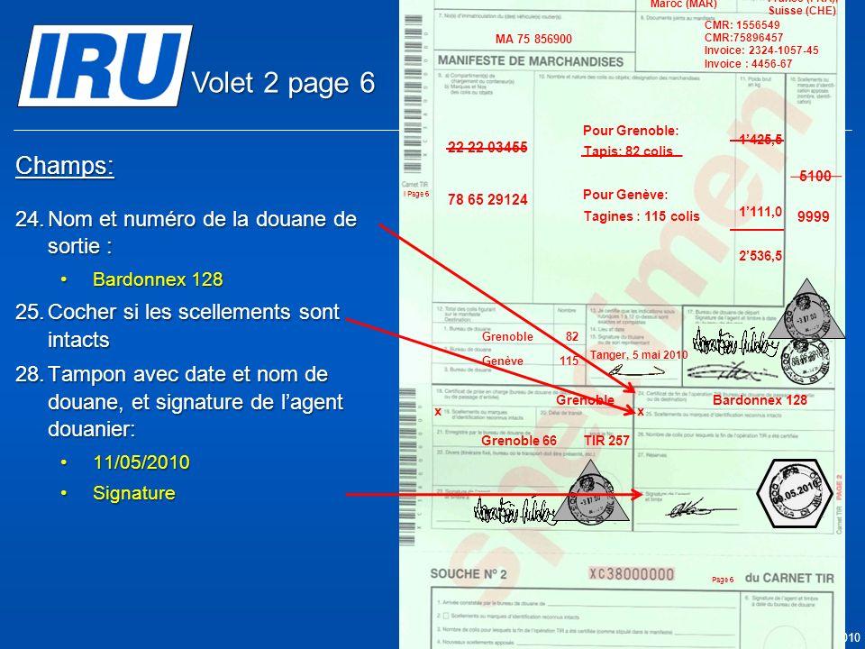 Volet 2 page 6 Champs: Nom et numéro de la douane de sortie :