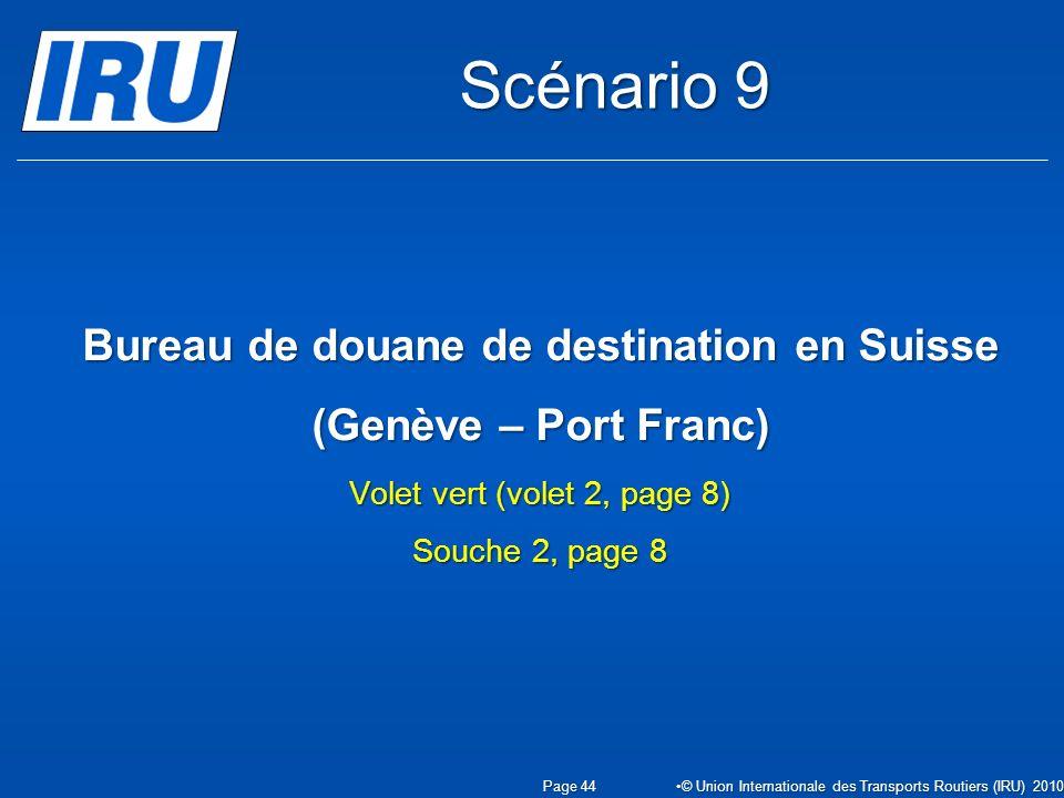 Scénario 9 Bureau de douane de destination en Suisse (Genève – Port Franc) Volet vert (volet 2, page 8) Souche 2, page 8.