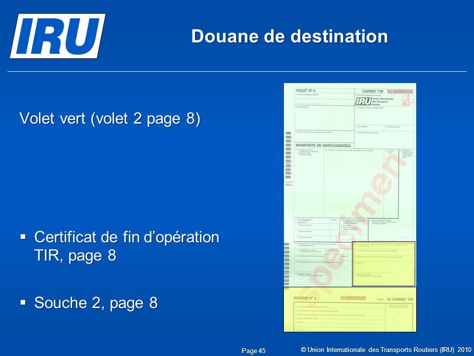 Douane de destination Volet vert (volet 2 page 8)