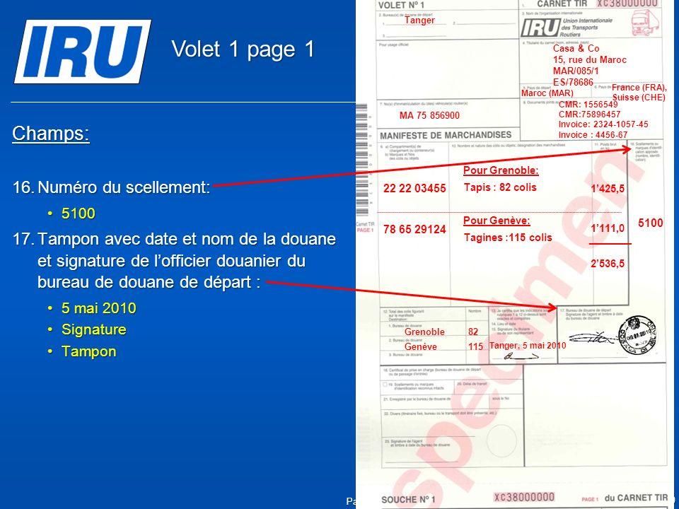 Volet 1 page 1 Champs: Numéro du scellement: