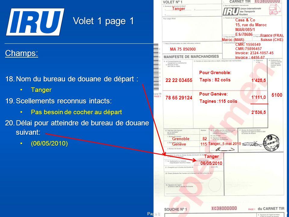 Volet 1 page 1 Champs: Nom du bureau de douane de départ :