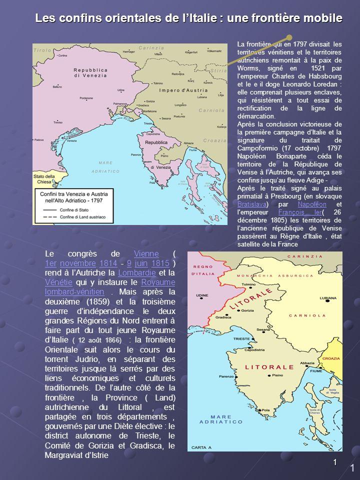 Les confins orientales de l'Italie : une frontière mobile