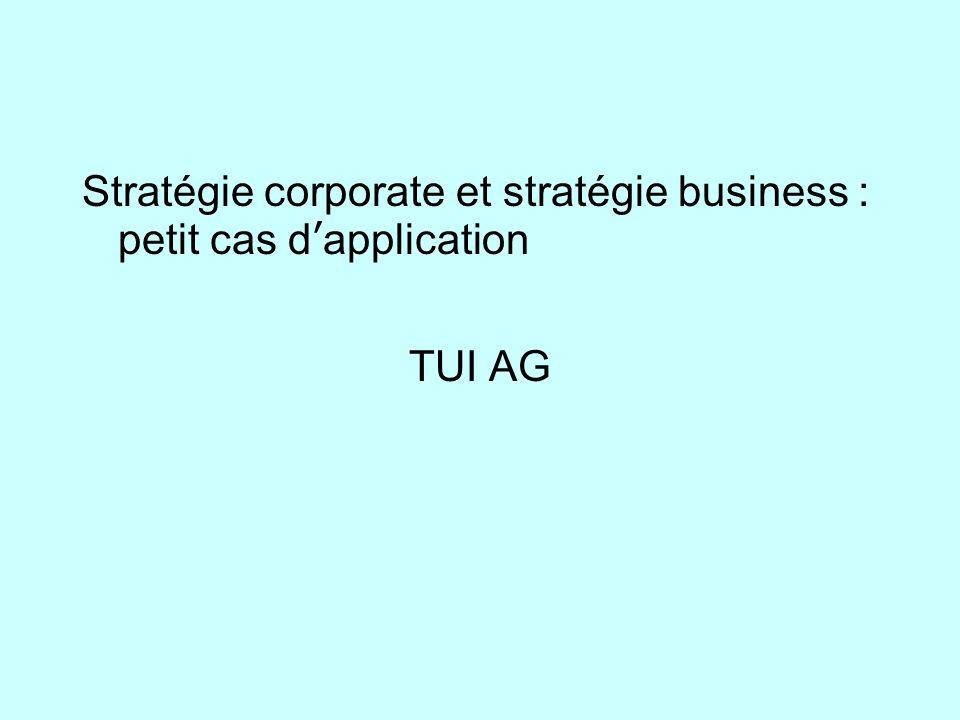 Stratégie corporate et stratégie business : petit cas d'application