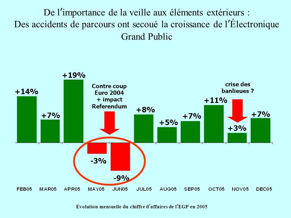 Évolution mensuelle du chiffre d'affaires de l'EGP en 2005