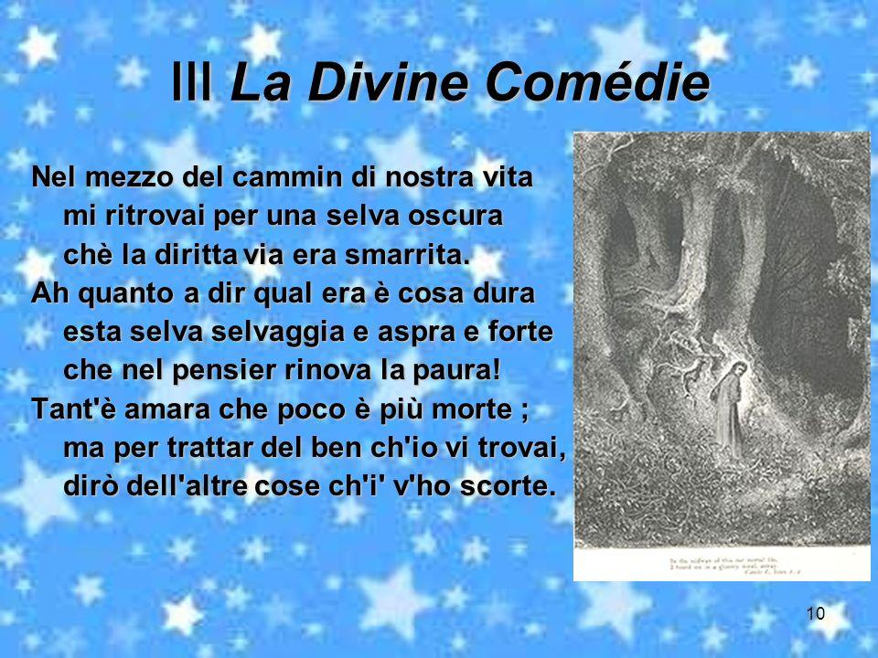 Ⅲ La Divine Comédie Nel mezzo del cammin di nostra vita