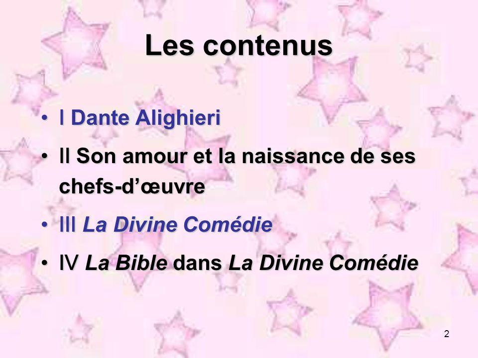 Les contenus Ⅰ Dante Alighieri