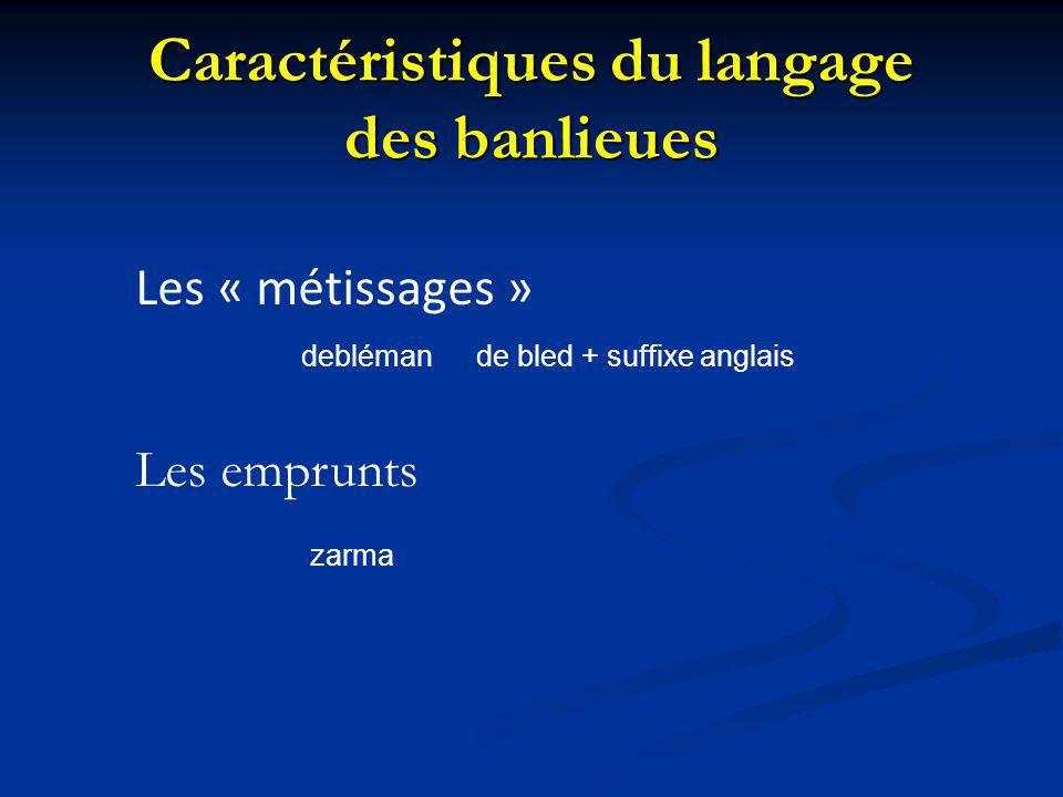 Caractéristiques du langage des banlieues