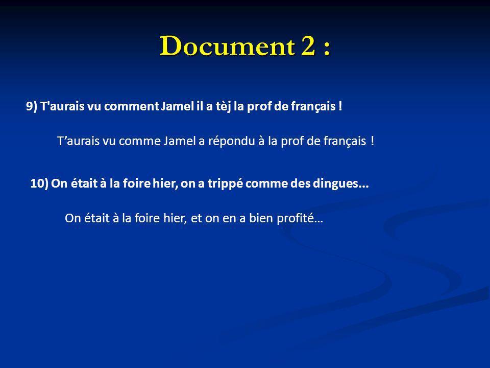 Document 2 : 9) T aurais vu comment Jamel il a tèj la prof de français ! T'aurais vu comme Jamel a répondu à la prof de français !