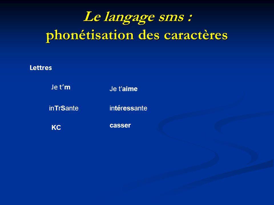 Le langage sms : phonétisation des caractères