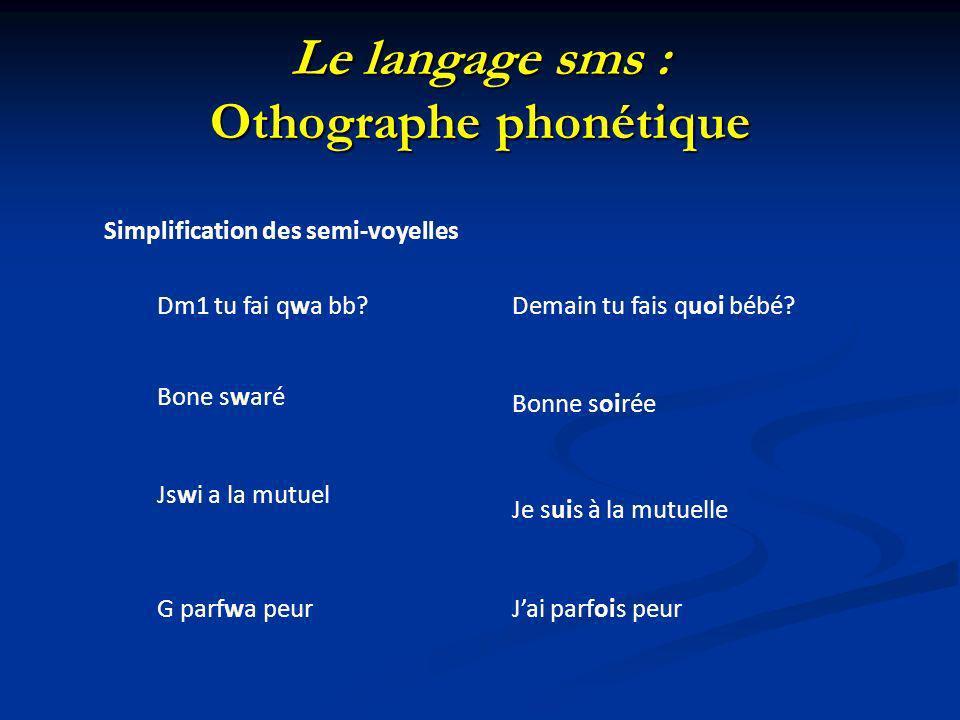Le langage sms : Othographe phonétique