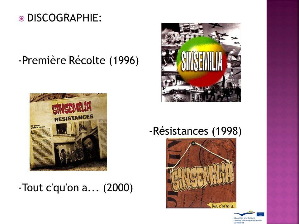 DISCOGRAPHIE: -Première Récolte (1996) -Résistances (1998) -Tout c qu on a... (2000)