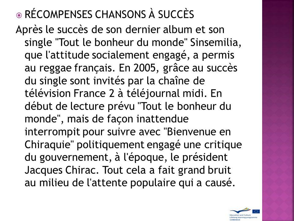 RÉCOMPENSES CHANSONS À SUCCÈS