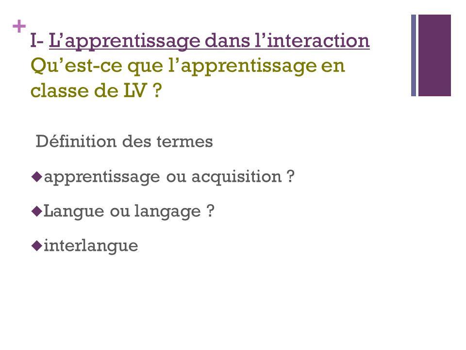 I- L'apprentissage dans l'interaction Qu'est-ce que l'apprentissage en classe de LV