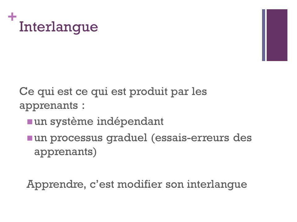 Interlangue Ce qui est ce qui est produit par les apprenants :