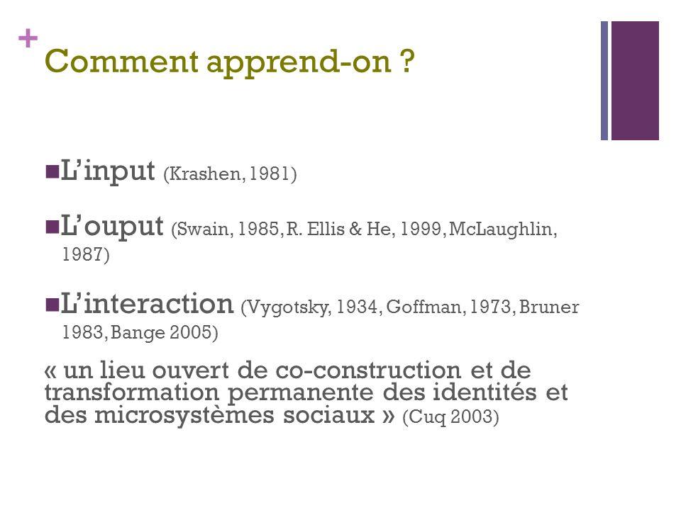 Comment apprend-on L'input (Krashen, 1981)