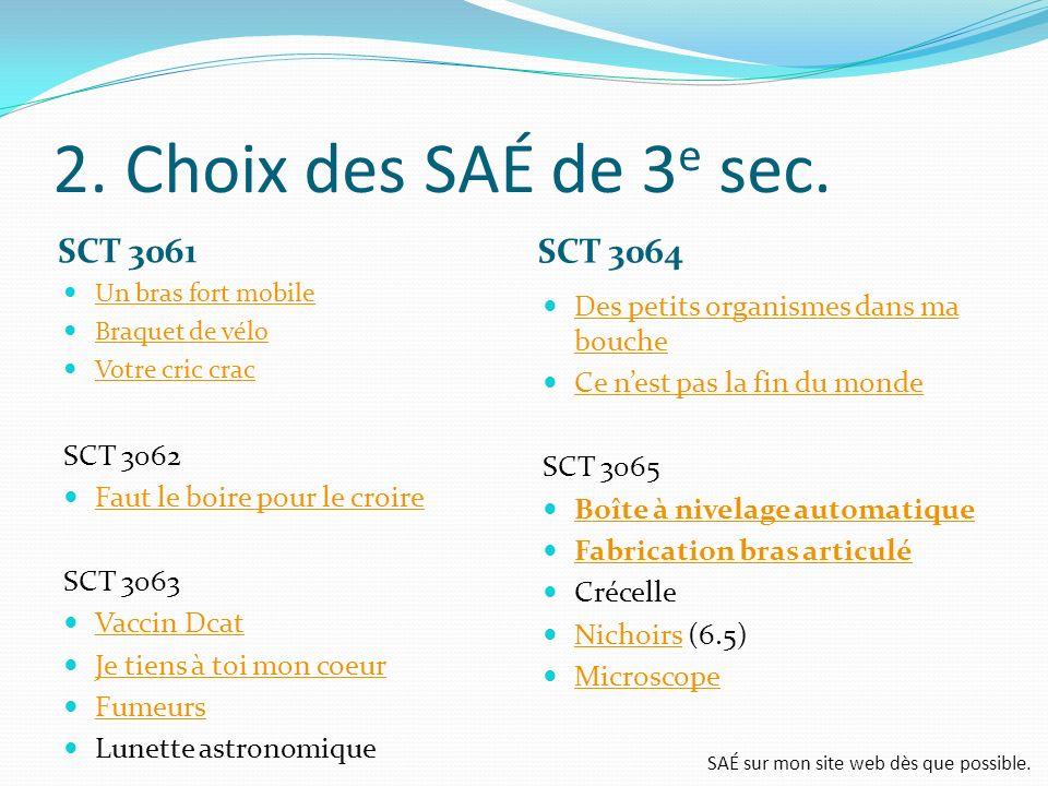 2. Choix des SAÉ de 3e sec. SCT 3061 SCT 3064