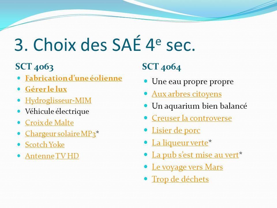 3. Choix des SAÉ 4e sec. SCT 4063 SCT 4064 Une eau propre propre