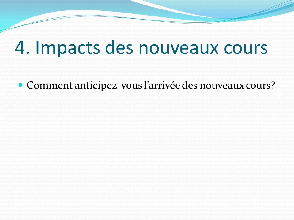 4. Impacts des nouveaux cours