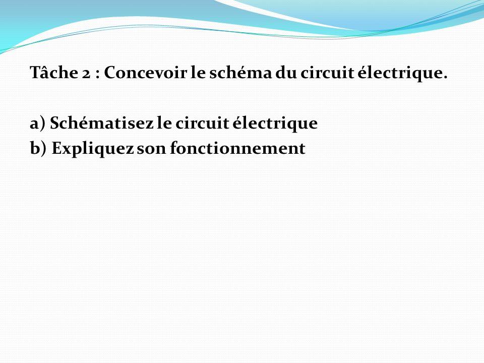 Tâche 2 : Concevoir le schéma du circuit électrique.