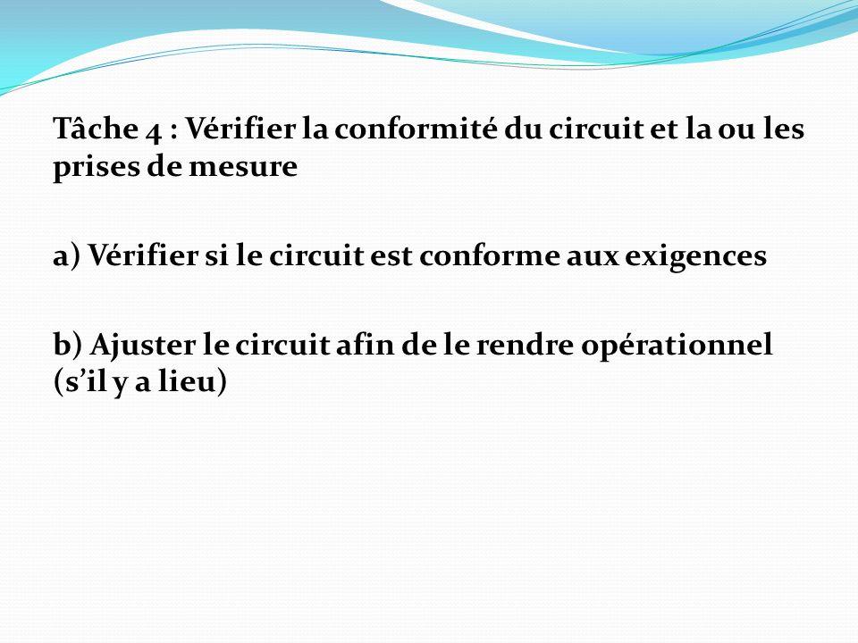 Tâche 4 : Vérifier la conformité du circuit et la ou les prises de mesure a) Vérifier si le circuit est conforme aux exigences b) Ajuster le circuit afin de le rendre opérationnel (s'il y a lieu)
