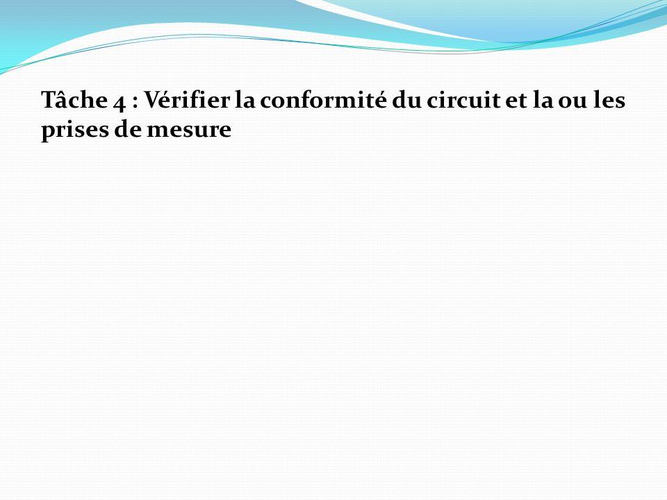 Tâche 4 : Vérifier la conformité du circuit et la ou les prises de mesure