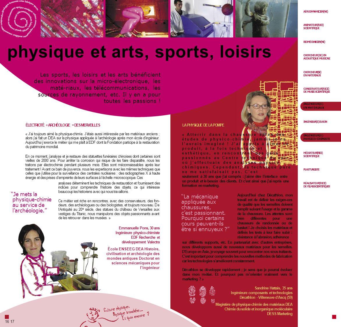 physique et arts, sports, loisirs