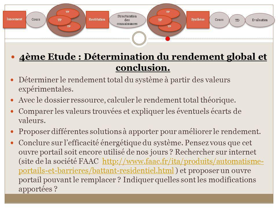 4ème Etude : Détermination du rendement global et conclusion.