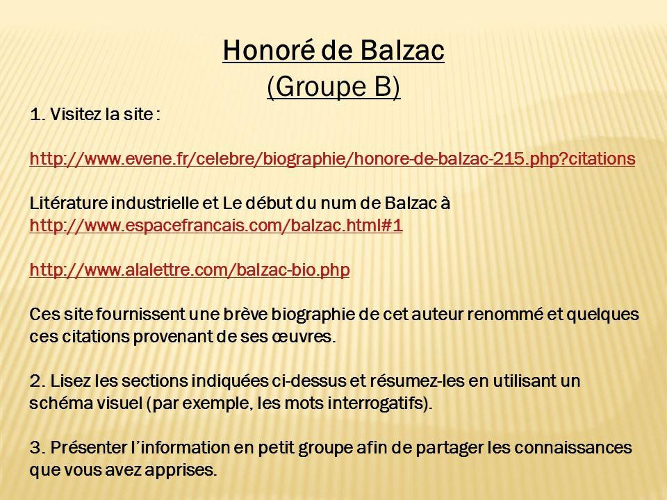Honoré de Balzac (Groupe B) 1. Visitez la site :