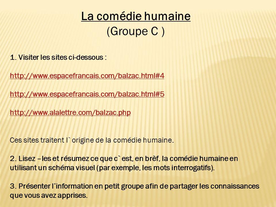 La comédie humaine (Groupe C ) 1. Visiter les sites ci-dessous :