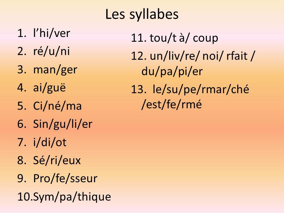 Les syllabes l'hi/ver. ré/u/ni. man/ger. ai/guë. Ci/né/ma. Sin/gu/li/er. i/di/ot. Sé/ri/eux.