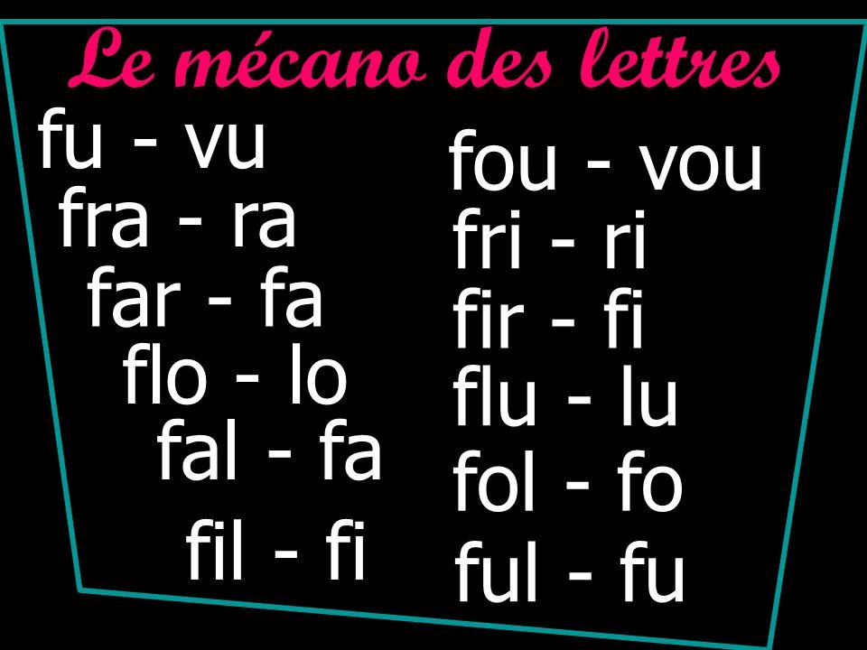 Le mécano des lettres fu - vu fou - vou fra - ra fri - ri far - fa