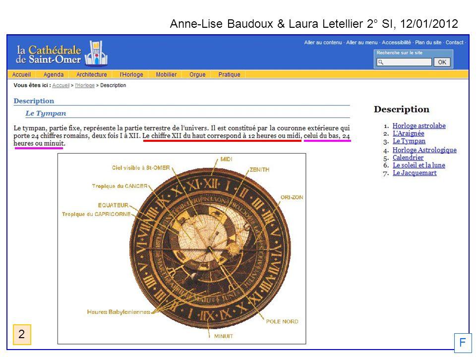 Anne-Lise Baudoux & Laura Letellier 2° SI, 12/01/2012