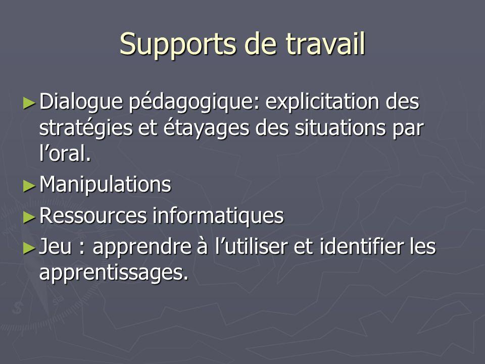 Supports de travail Dialogue pédagogique: explicitation des stratégies et étayages des situations par l'oral.
