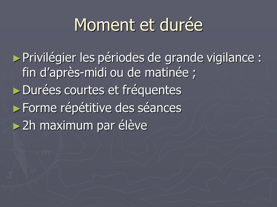 Moment et durée Privilégier les périodes de grande vigilance : fin d'après-midi ou de matinée ; Durées courtes et fréquentes.