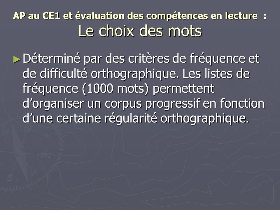 AP au CE1 et évaluation des compétences en lecture : Le choix des mots