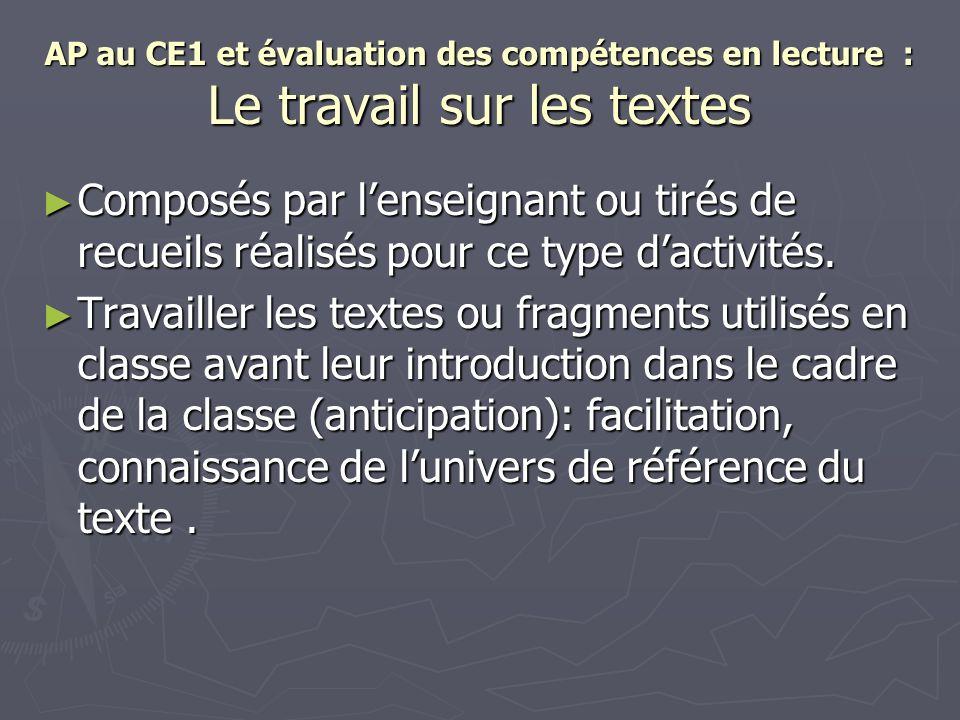 AP au CE1 et évaluation des compétences en lecture : Le travail sur les textes
