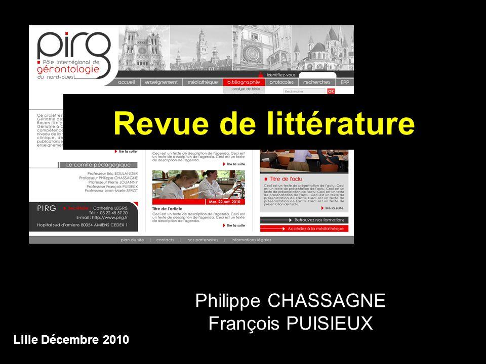 Revue de littérature Philippe CHASSAGNE François PUISIEUX