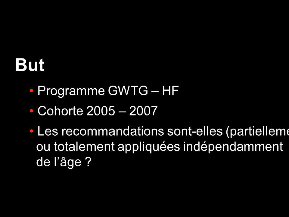 But Programme GWTG – HF Cohorte 2005 – 2007