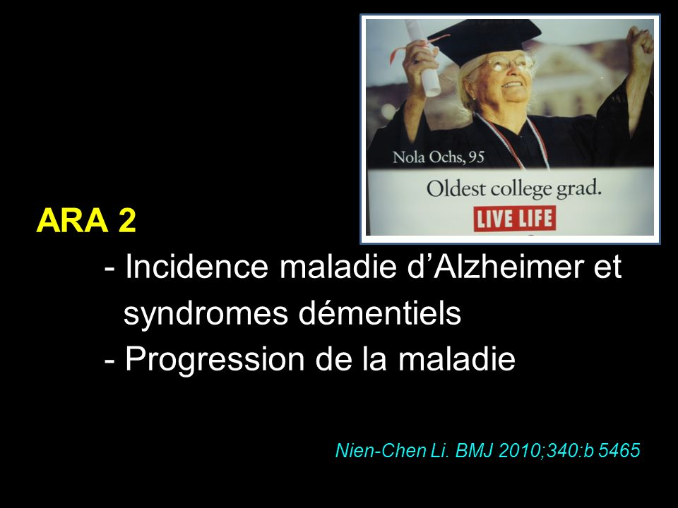 - Incidence maladie d'Alzheimer et syndromes démentiels
