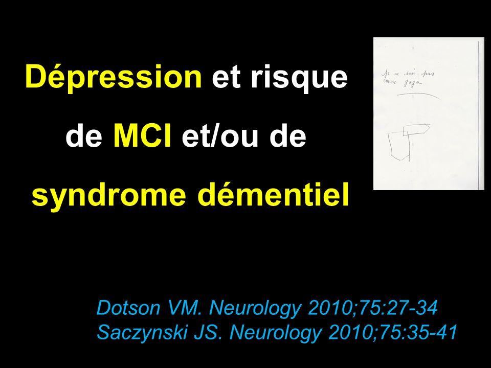 Dépression et risque de MCI et/ou de syndrome démentiel