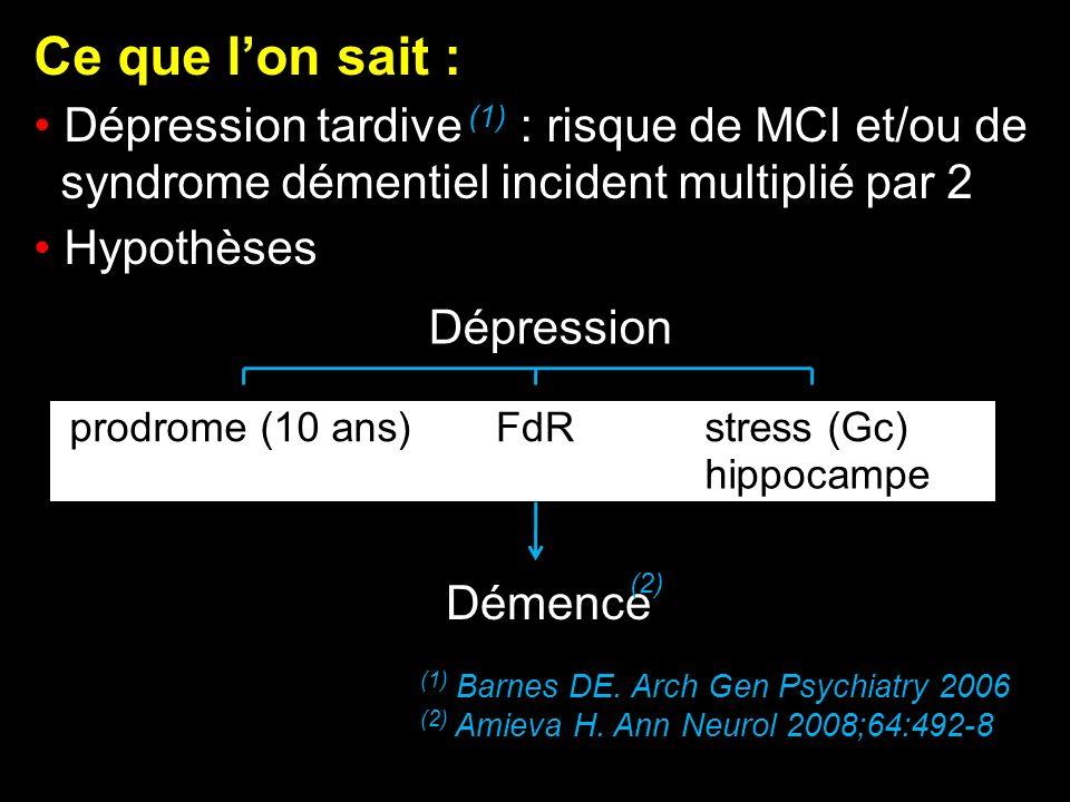Ce que l'on sait : Dépression tardive (1) : risque de MCI et/ou de