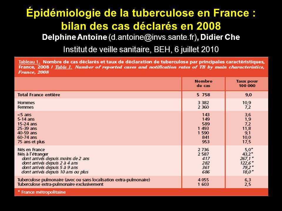 Épidémiologie de la tuberculose en France : bilan des cas déclarés en 2008 Delphine Antoine (d.antoine@invs.sante.fr), Didier Che Institut de veille sanitaire, BEH, 6 juillet 2010