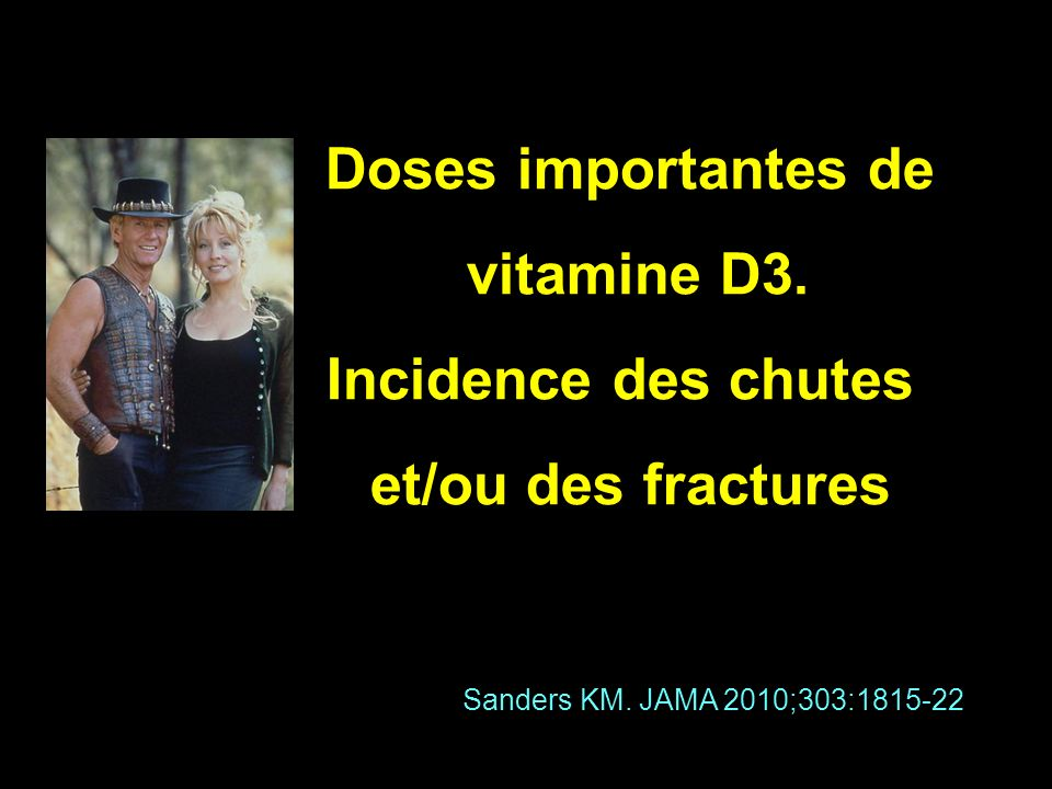 Doses importantes de vitamine D3. Incidence des chutes