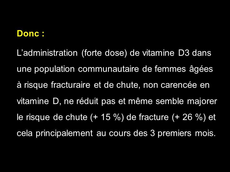Donc : L'administration (forte dose) de vitamine D3 dans. une population communautaire de femmes âgées.