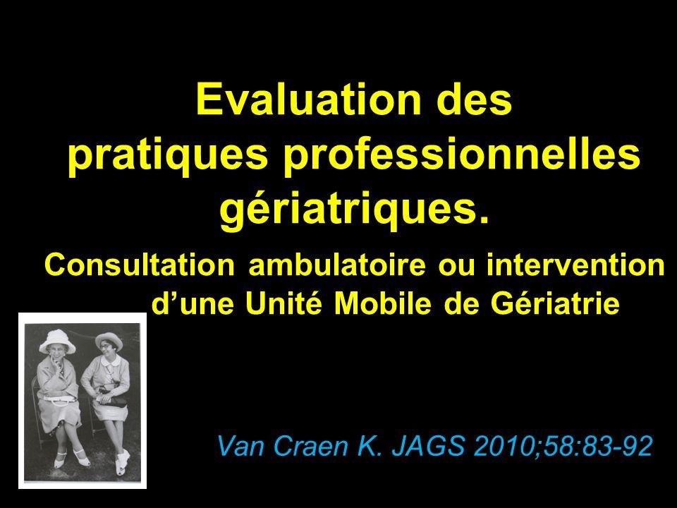 Evaluation des pratiques professionnelles gériatriques.