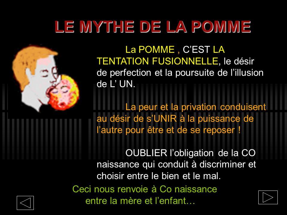 LE MYTHE DE LA POMME La POMME , C'EST LA TENTATION FUSIONNELLE, le désir de perfection et la poursuite de l'illusion de L' UN.