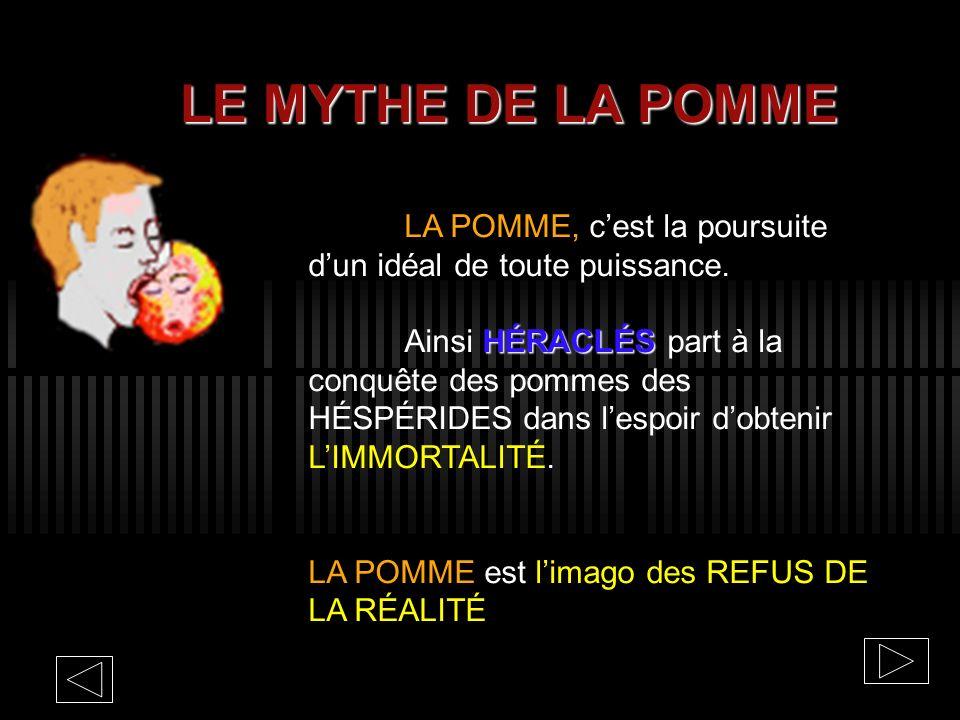 LE MYTHE DE LA POMME LA POMME, c'est la poursuite d'un idéal de toute puissance.